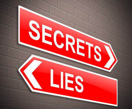 defamation: Illustration depicting a sign with a secrets and lies concept. Stock Photo