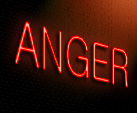 temper: Illustration depicting an illuminated neon sign with an anger concept.