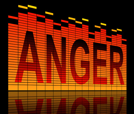 outrage: Illustration depicting graphic equalizer bars with an anger concept.