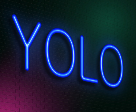 once: Illustration depicting an illuminated neon sign with a YOLO concept. Stock Photo