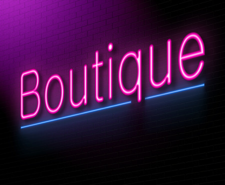 specialty store: Illustration depicting an illuminated neon sign with a boutique concept. Stock Photo