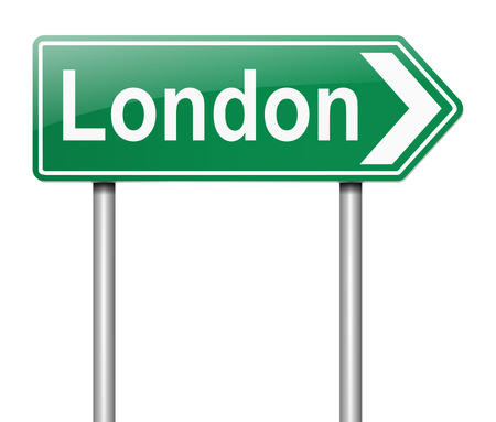 depicting: Illustration depicting a sign directing to London.