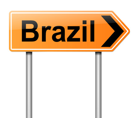 directing: Illustration depicting a sign directing to Brazil.