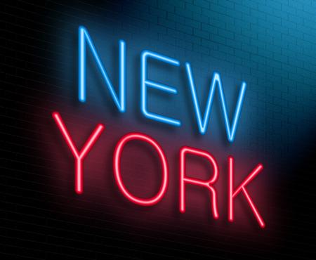 Illustration représentant un signe de néon lumineux avec un concept de New York. Banque d'images