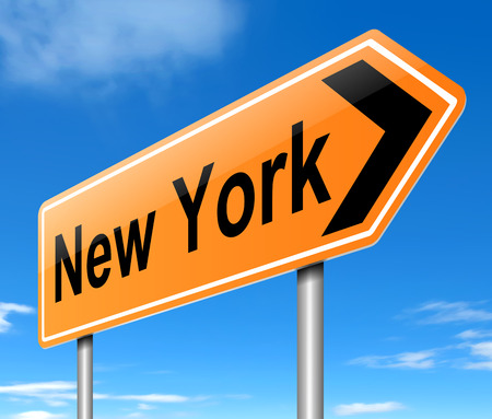 directing: Illustration depicting a sign directing to New York. Stock Photo