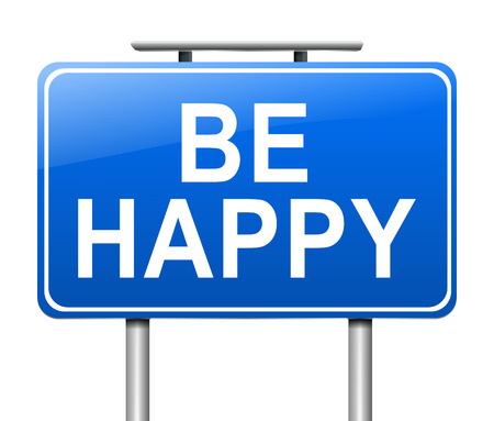 contentment: Illustration depicting a sign with a happiness concept.