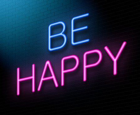 good spirits: Illustration depicting an illuminated neon sign with a happiness concept.