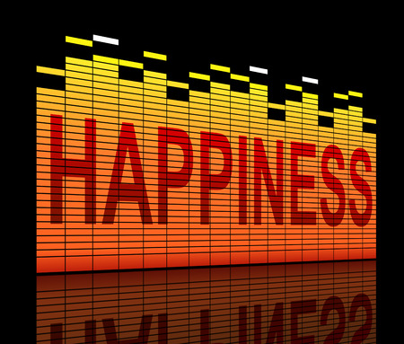 contentment: Illustration depicting graphic equalizer bars with a happiness concept. Stock Photo