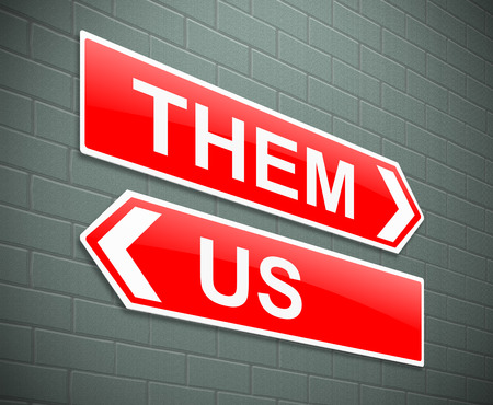 Illustration depicting a sign with a them and us concept. illustration