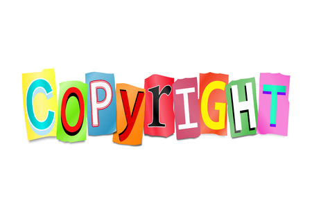 arrange: Illustration depicting a set of cut out printed letters formed to arrange the word copyright.