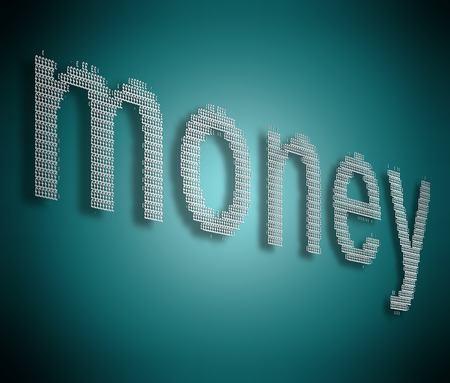 monies: Illustration depicting many silver pound signs formed to arrange the word money.