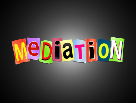 Illustration depicting a set of cut out printed letters formed to arrange the word mediation.
