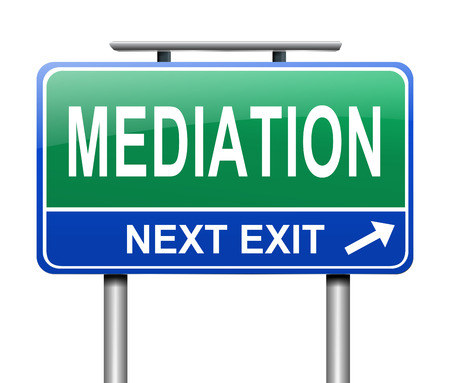 Illustration depicting a sign with a mediation concept. Archivio Fotografico