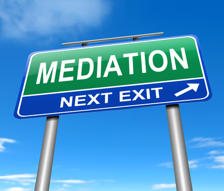 conciliation: Illustration depicting a sign with a mediation concept. Stock Photo