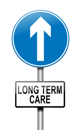 long term: Illustration depicting a sign with a long term care concept. Stock Photo