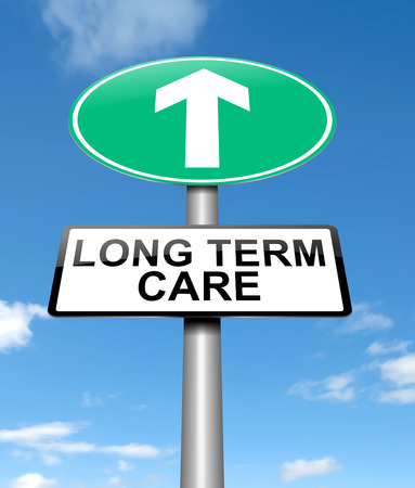 providing: Illustration depicting a sign with a long term care concept. Stock Photo