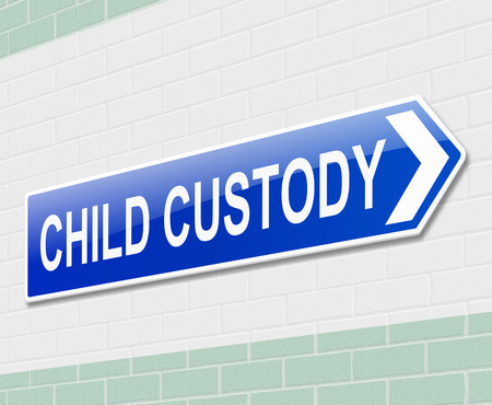 custody: Illustration depicting a sign directing to child custody. Stock Photo