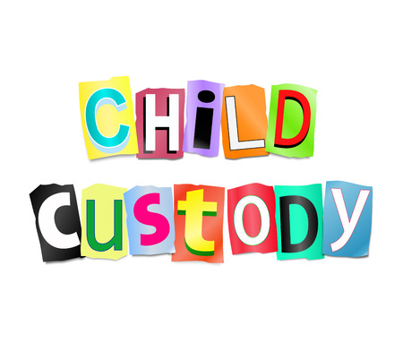 provision: Illustration depicting a set of cut out printed letters formed to arrange the words child custody. Stock Photo