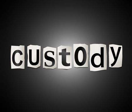 incarceration: Illustration depicting a set of cut out printed letters formed to arrange the word custody.
