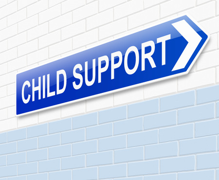 absent: Illustration depicting a sign with a child support concept.
