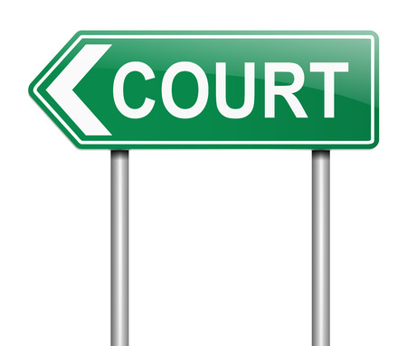 prosecution: Illustration depicting a sign with a court concept.