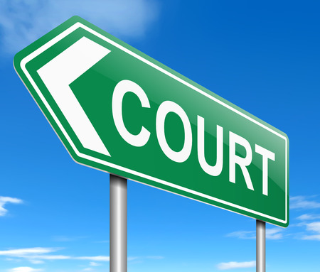 ruling: Illustration depicting a sign with a court concept.