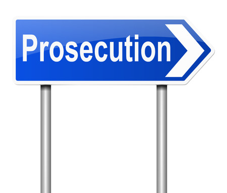 ruling: Illustration depicting a sign with a prosecution concept. Stock Photo