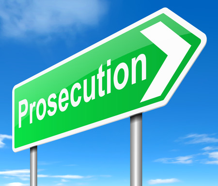 municipal court: Illustration depicting a sign with a prosecution concept. Stock Photo