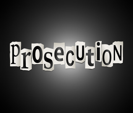 prosecution: Illustration depicting a set of cut out printed letters formed to arrange the word prosecution.