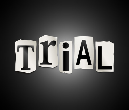 municipal court: Illustration depicting a set of cut out printed letters formed to arrange the word trial.