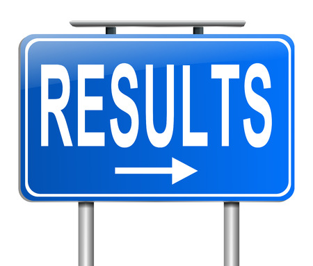 proceeds: Illustration depicting a sign with a results concept. Stock Photo