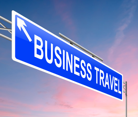 Illustration depicting a sign with a business travel concept. illustration