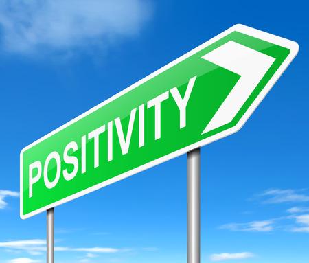 actitud positiva: Ilustraci�n que muestra un letrero con un concepto de positividad.