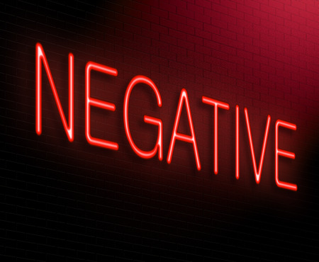 cynical: Illustration depicting an illuminated neon sign with a negative concept. Stock Photo