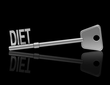 weight loss plan: Illustration depicting a metal key with a diet concept.