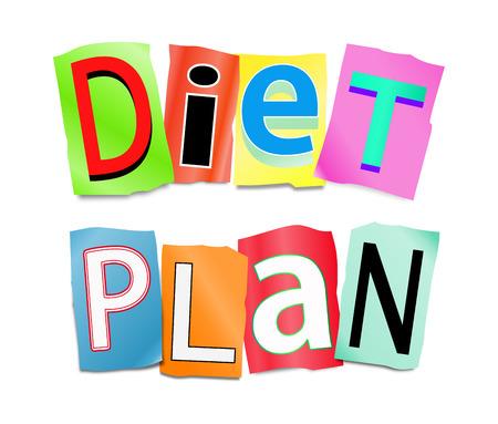 단어 다이어트 계획을 마련하기 위해 형성 잘라 인쇄 된 문자의 집합을 묘사 한 그림.