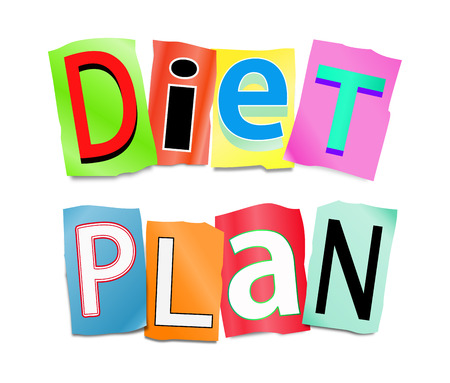 weight loss plan: Illustration depicting a set of cut out printed letters formed to arrange the word diet plan. Stock Photo