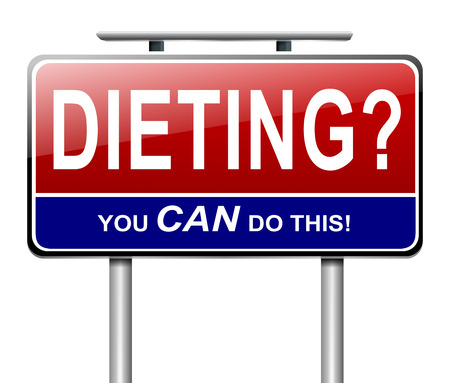 weight reduction plan: Illustration depicting a sign with a dieting concept.