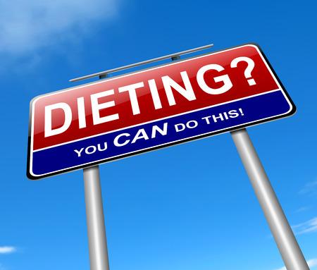 다이어트 개념 기호를 묘사 한 그림.
