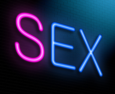 Illustration depicting an illuminated neon sign with a sex concept. illustration