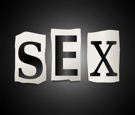 Illustration depicting a set of cut out printed letters formed to arrange the word sex. illustration
