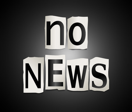 Illustration depicting a set of cut out printed letters formed to arrange the words no news. Imagens