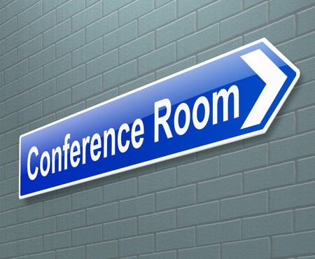 committee: Illustration depicting a sign with a conference concept. Stock Photo
