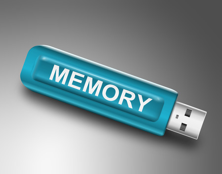 Illustration depicting a usb flash drive with a memory concept. illustration