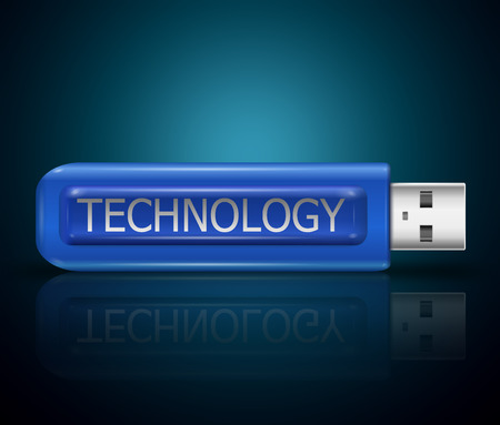 Illustration depicting a usb flash drive with a technology concept. illustration