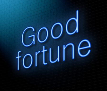 fortune concept: Illustration depicting an illuminated neon sign with a good fortune concept. Stock Photo