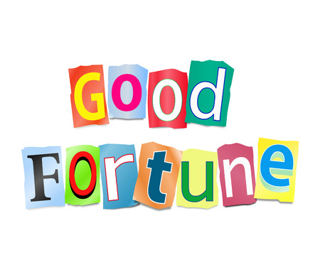arrange: Illustration depicting a set of cut out printed letters formed to arrange the words good fortune.