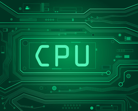 Abstract style illustration depicting printed circuit board components with a CPU concept. illustration