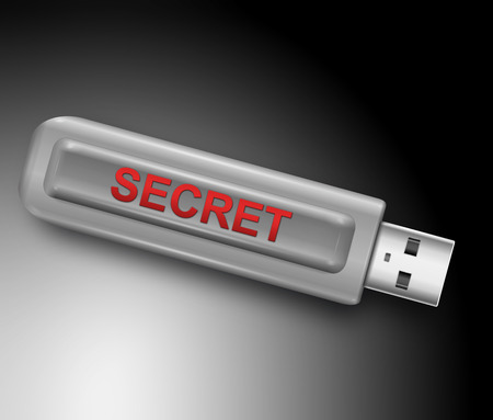 Illustration depicting a usb flash drive with a secret concept. illustration