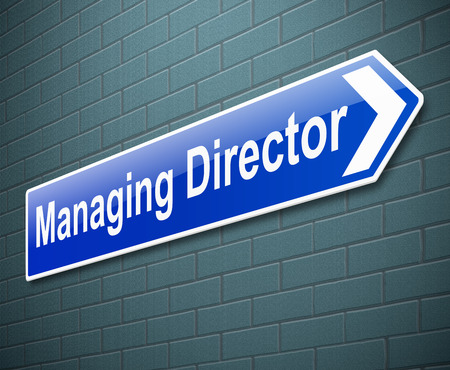 organisation: Illustration depicting a sign directing to the Managing Director. Stock Photo